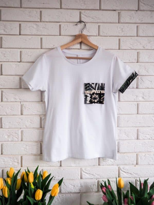 biała koszulka w stylu boho