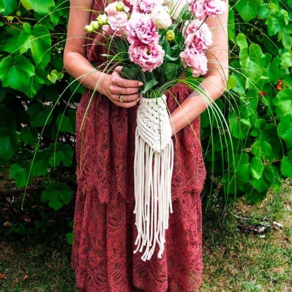 makrama na bukiet kwiatów